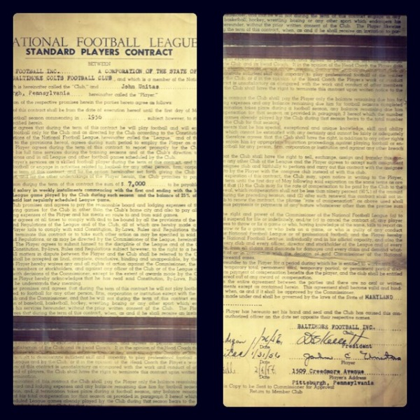 Johnny Unitas Contract